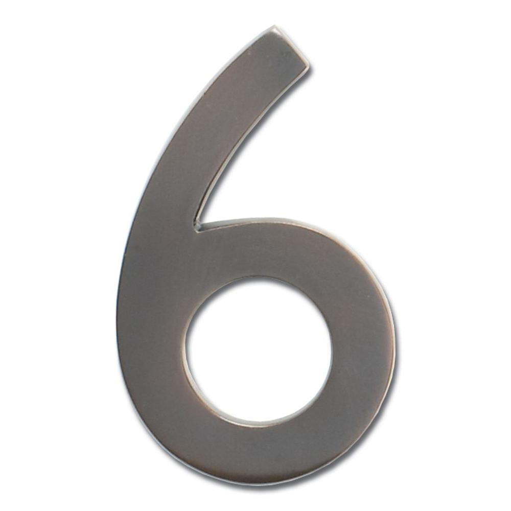 5 in. Dark Aged Copper Floating House Number 6