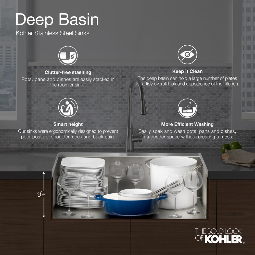 Verse Drop-in Stainless Steel 33 in. 4-Hole Single Bowl Kitchen Sink