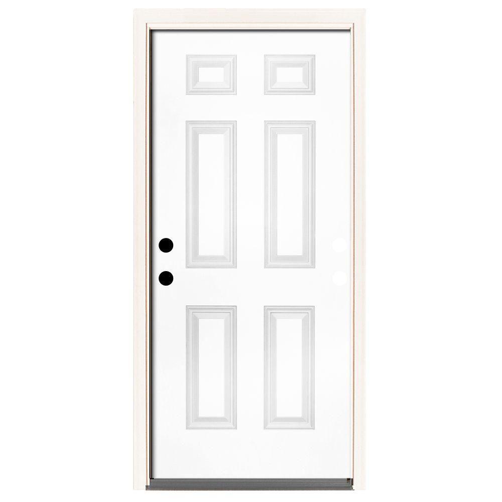Home Depot Doors Exterior Steel: Steves & Sons 42 In. X 80 In. Premium 6 Panel Primed White