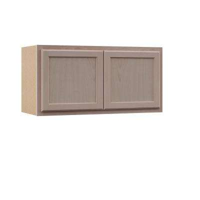 Hampton Assembled 36x18x12 in. Wall Bridge Cabinet in Unfinished Beech