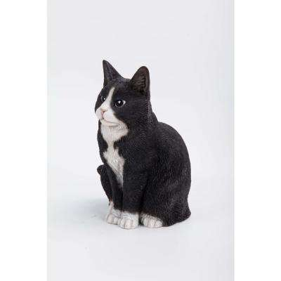 Black and White Cat Sitting Statue