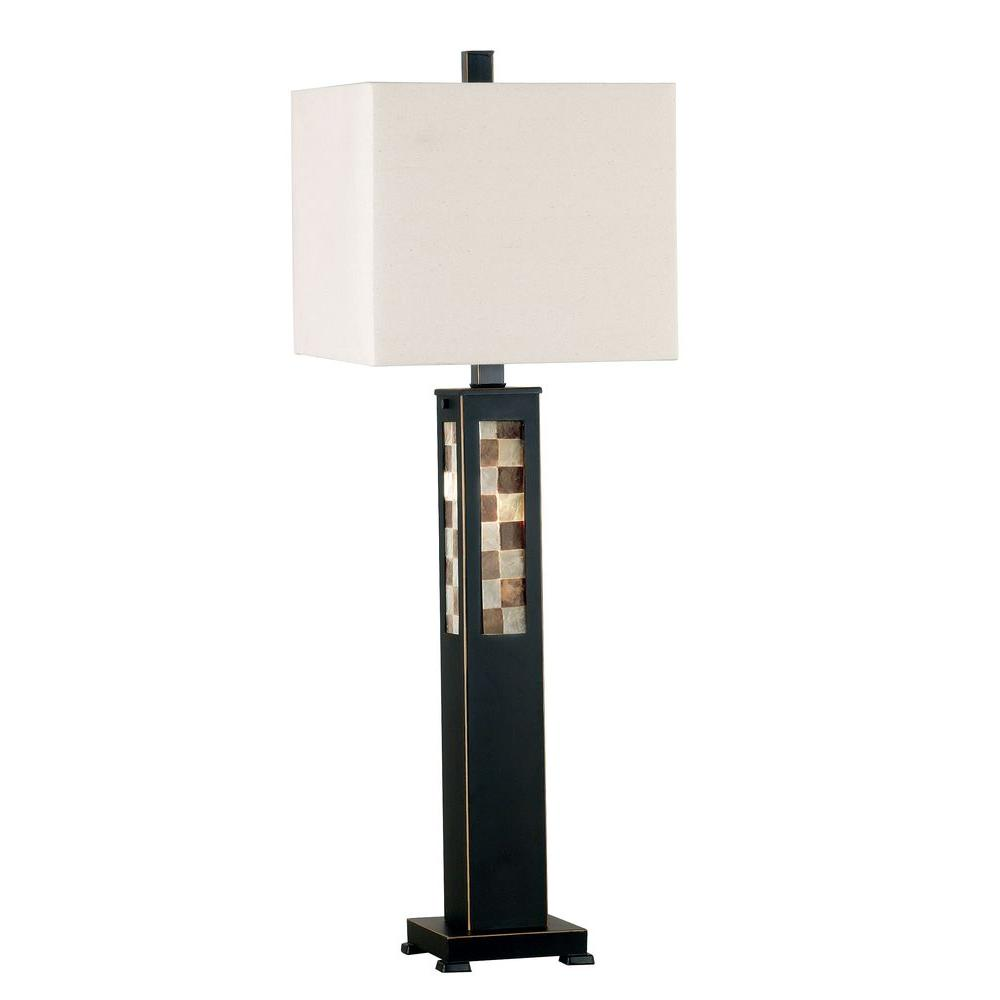 Kenroy Home Windowpane 32 In Oil Rubbed Bronze Table Lamp With