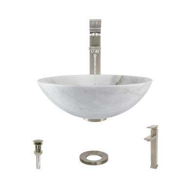 Stone Vessel Sink in Honed Basalt White Granite with 721 Faucet and Pop-Up Drain in Brushed Nickel
