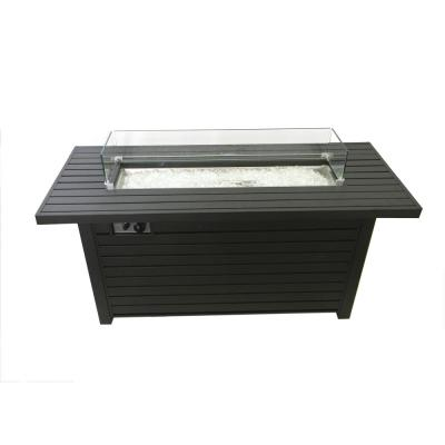 22 in. x 25 in. x 54 in. Rectangle Aluminum Propane Gas Fire Pit in Black Mocha with Wind Screen