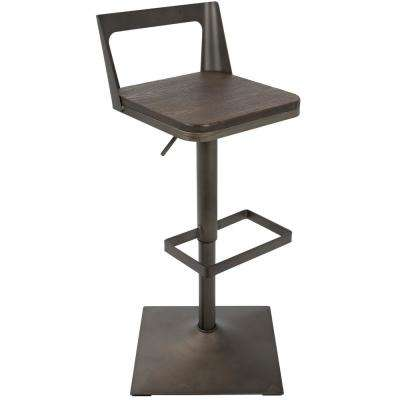 Samurai Black and Espresso Adjustable Barstool