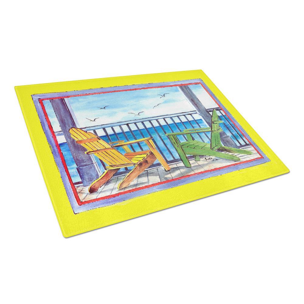 Adirondack Chairs Yellow Tempered Glass Large Cutting Board