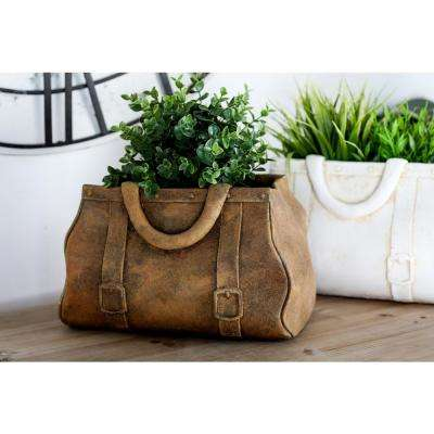 8 in x 12 in. Distressed Tan Concrete Purse Planter