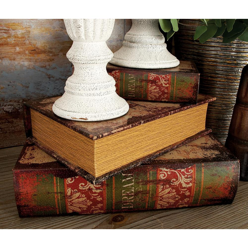 "Vintage Rectangular Wood and Faux Leather ""Dream"" Book Boxes (Set of"