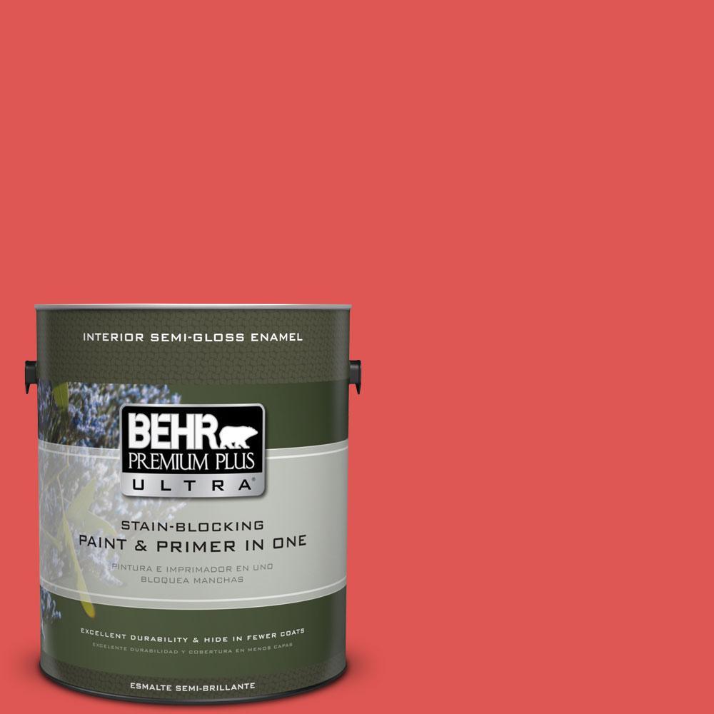 1 gal. #170B-6 Lipstick Semi-Gloss Enamel Interior Paint and Primer in