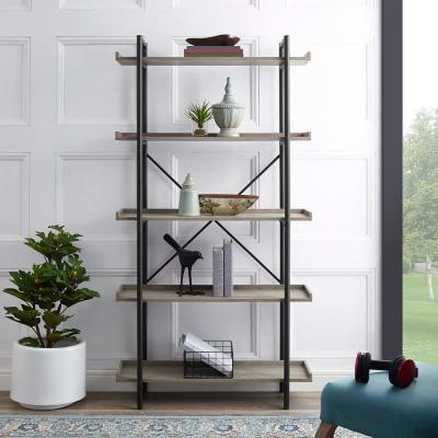 68 in. Driftwood/Black Metal 5-shelf Etagere Bookcase with Open Back
