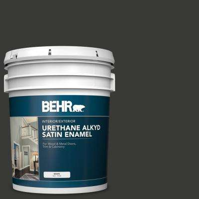 5 gal. Home Decorators Collection #HDC-MD-04 Totally Black Urethane Alkyd Satin Enamel Interior/Exterior Paint