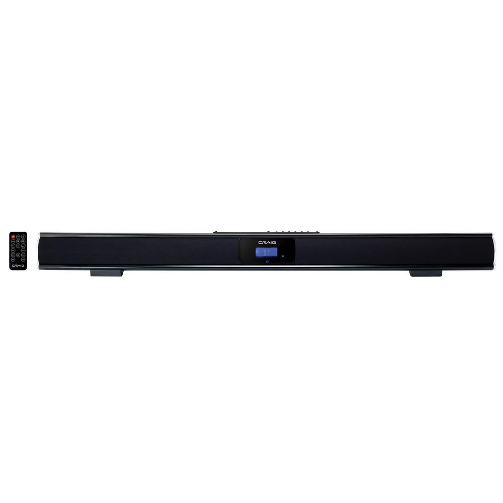 37 in. Stereo Bluetooth Sound Bar System, Black Enjoy audio with minimal wiring and setup. This 37 in. sound bar can connect via Bluetooth for wireless connectivity, as well as RCA audio jacks, 3.5 mm auxiliary and digital optical inputs. With the included remote control, you can have total freedom of an incredible home audio system. Color: Black.