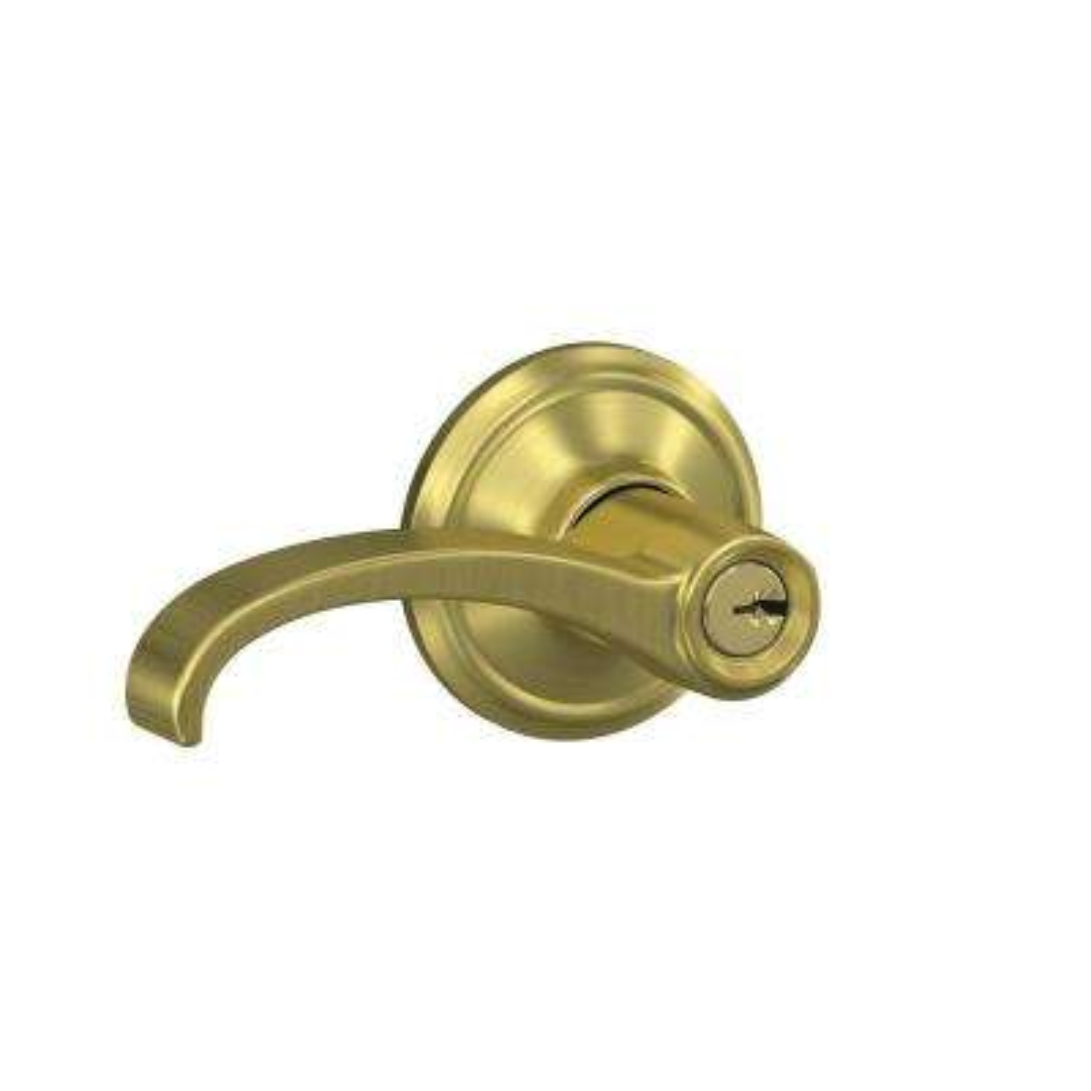 Custom Whitney Satin Brass Georgian Trim Keyed Door Lever