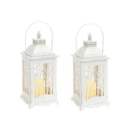 S/2 Lighted Metal and Glass Winter Forest Lanterns