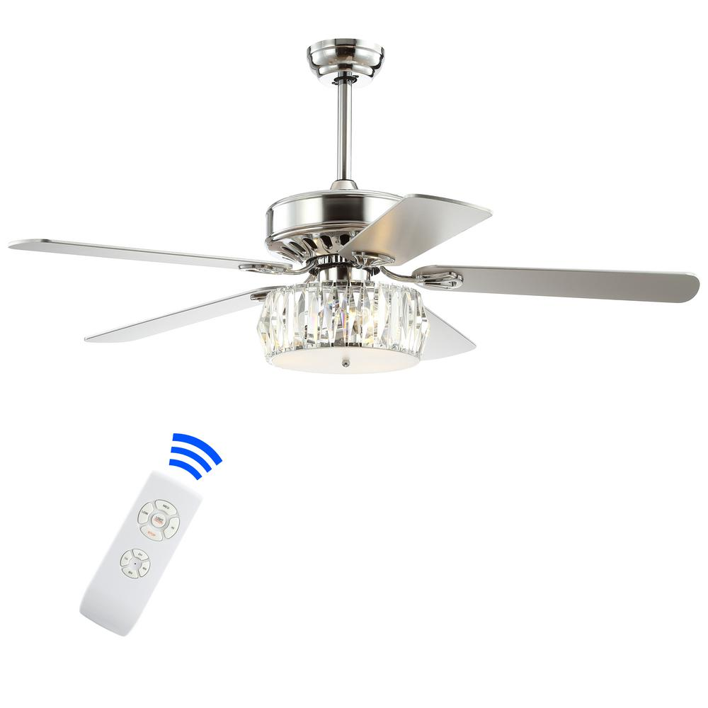 JONATHAN Y Mandy 52 in. Chrome 3-Light Crystal Prism Drum LED Ceiling Fan with Light and Remote