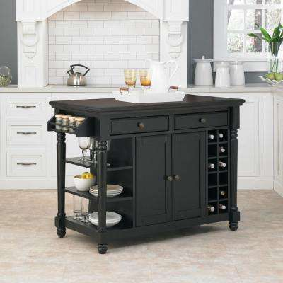 Grand Torino Black Kitchen Island With Storage