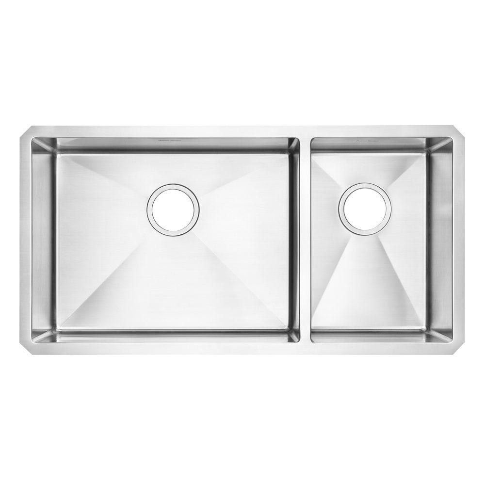 Prevoir Undermount Stainless Steel 35 in. Double Combination Bowl Kitchen Sink