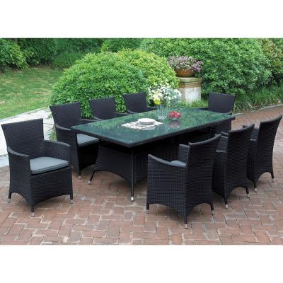 Naso 9-Piece Wicker Outdoor Patio Dining Set with Brown Seat Cushions