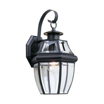 Lancaster Wall Mount 1-Light Small Outdoor 14 in. Black Fixture