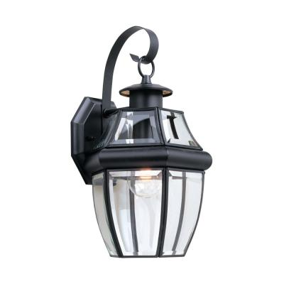 Lancaster Wall Lantern Sconce 1-Light Outdoor 14 in. Black Fixture