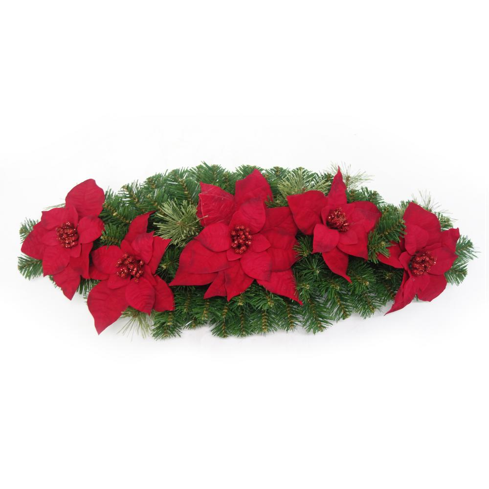 32 in. Unlit Christmas Poinsettia Mailbox Swag