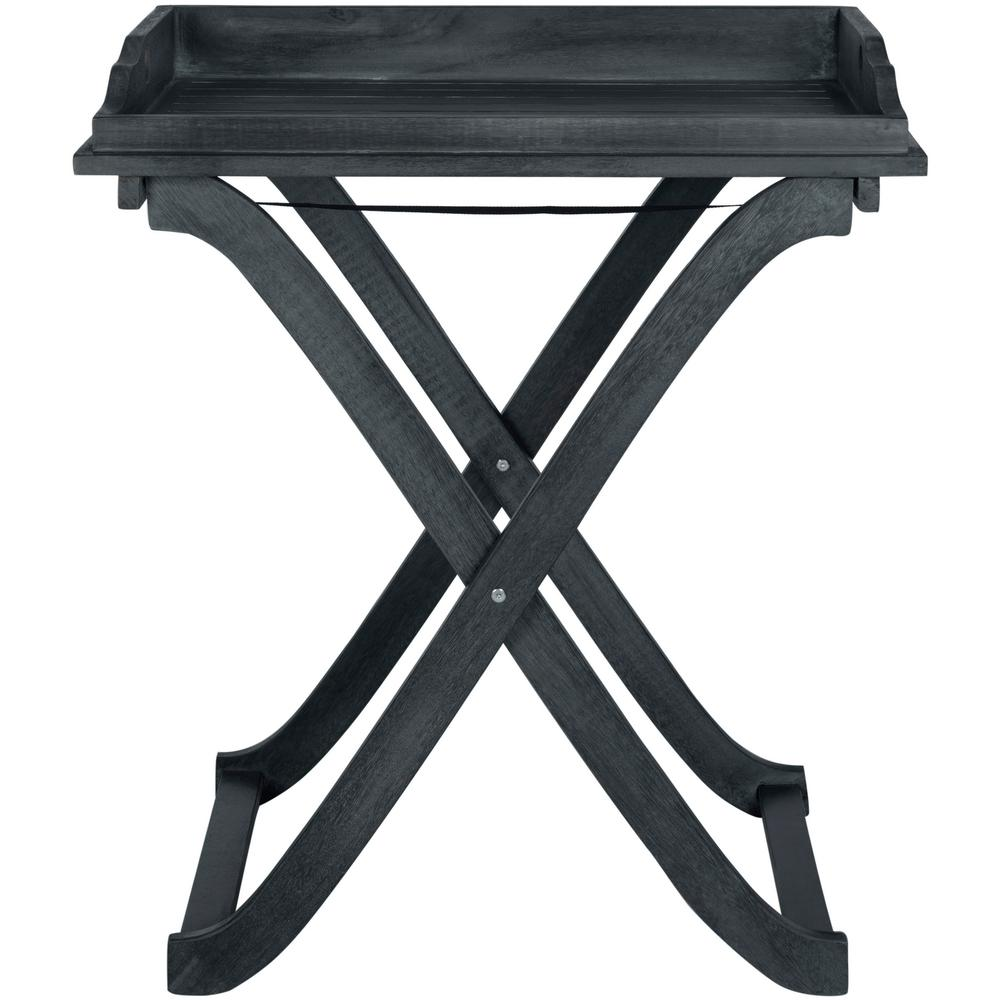 Safavieh Covina Dark Slate Gray Wood Outdoor Tray Table