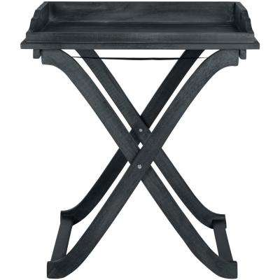 Covina Dark Slate Gray Wood Outdoor Tray Table