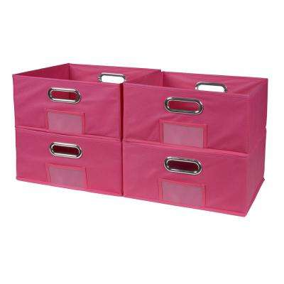 Cubo 12 in. x 6 in. Pink Folding Fabric Bin (4-Pack)