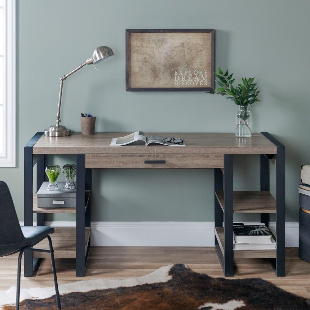 "60"" Urban Industrial Wood Computer Desk - Driftwood"