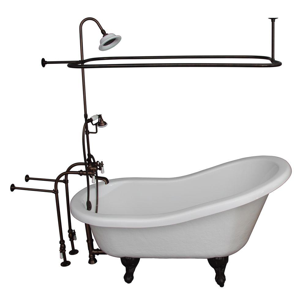 Barclay Products 5 Ft Acrylic Ball And Claw Feet Slipper Tub In White With Oil Rubbed Bronze Accessories Tkats60 Worb3 The Home Depot