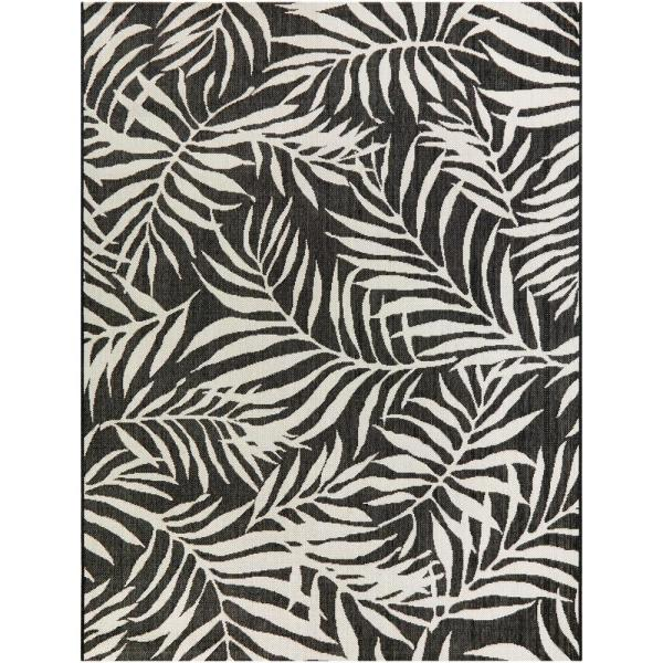 Tropical Palm Leaves Black 8 ft. x 10 ft. Indoor/Outdoor Area Rug