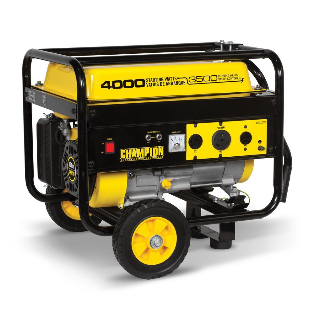 3,500-Watt Recoil Start Gasoline Powered Portable Generator with Wheel Kit