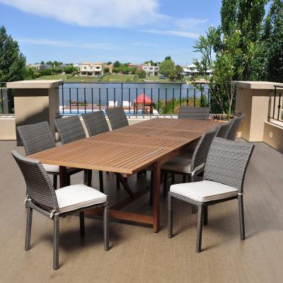 Berry 11-Piece Eucalyptus Extendable Rectangular Patio Dining Set with Off-White Cushions