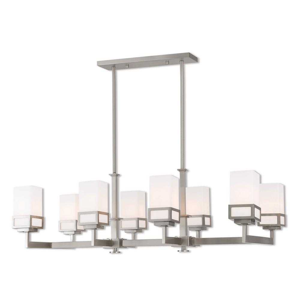 Harding 8-Light Brushed Nickel Linear Chandelier with Hand Blown Satin Opal