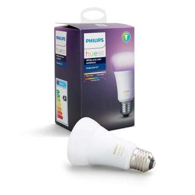 White and Color Ambiance A19 LED 60W Equivalent Dimmable Smart Wireless  Light Bulb