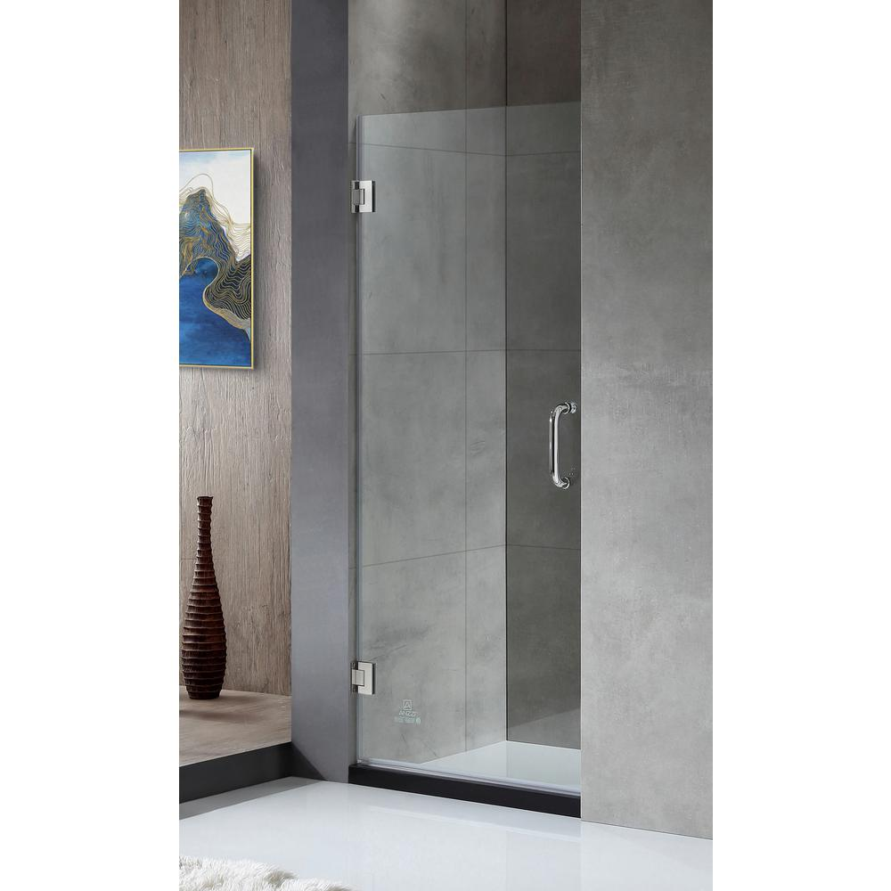 FELLOW Series 24 in. x 72 in. Frameless Hinged Shower Door