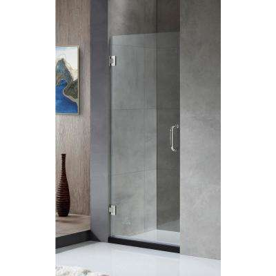 FELLOW Series 24 in. x 72 in. Frameless Hinged Shower Door in Chrome with Handle