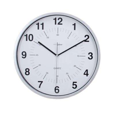 6-Pack Synchro Silent Wall Clock, 12 in., 3/4 in. D - Silver