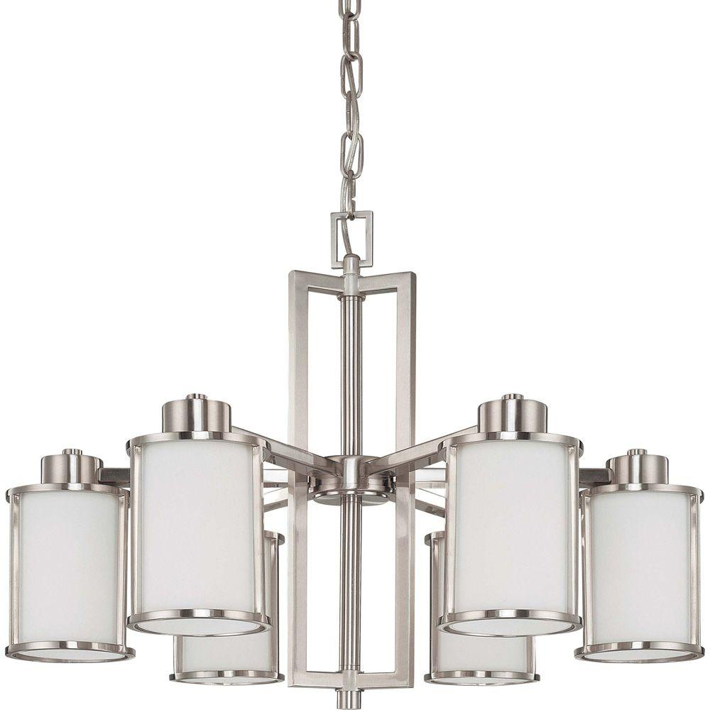 Andra 6 Light Brushed Nickel Convertible Chandelier With Satin White Glass
