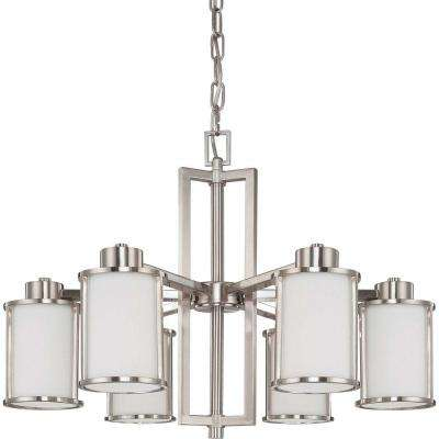 Andra 6-Light Brushed Nickel Convertible Chandelier with Satin White Glass