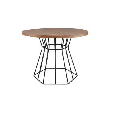 Corley Haze Finish Wood Top Round Dining Table for 4 with Metal Base (43.63 in. L x 29.25 in. H)