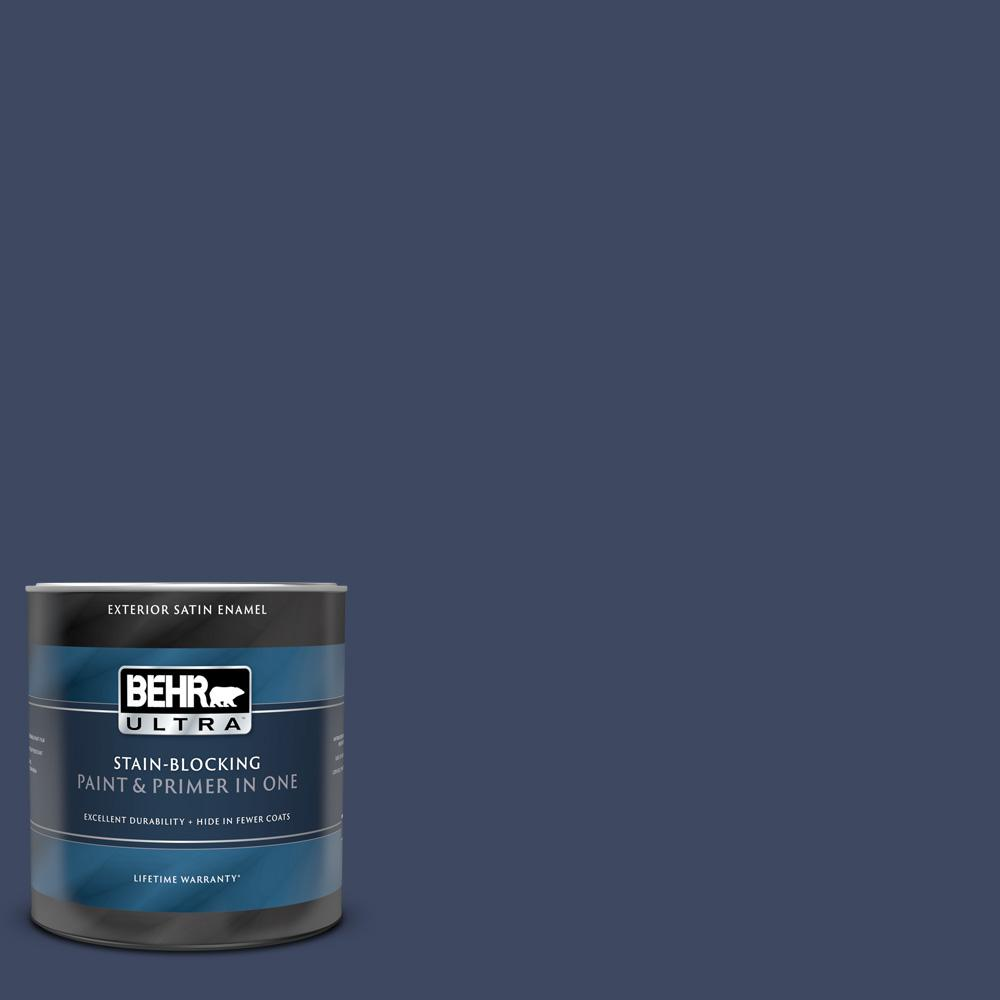 Behr Ultra 1 Qt 610d 7 Night Watch Satin Enamel Exterior Paint And Primer In One 985304 The Home Depot