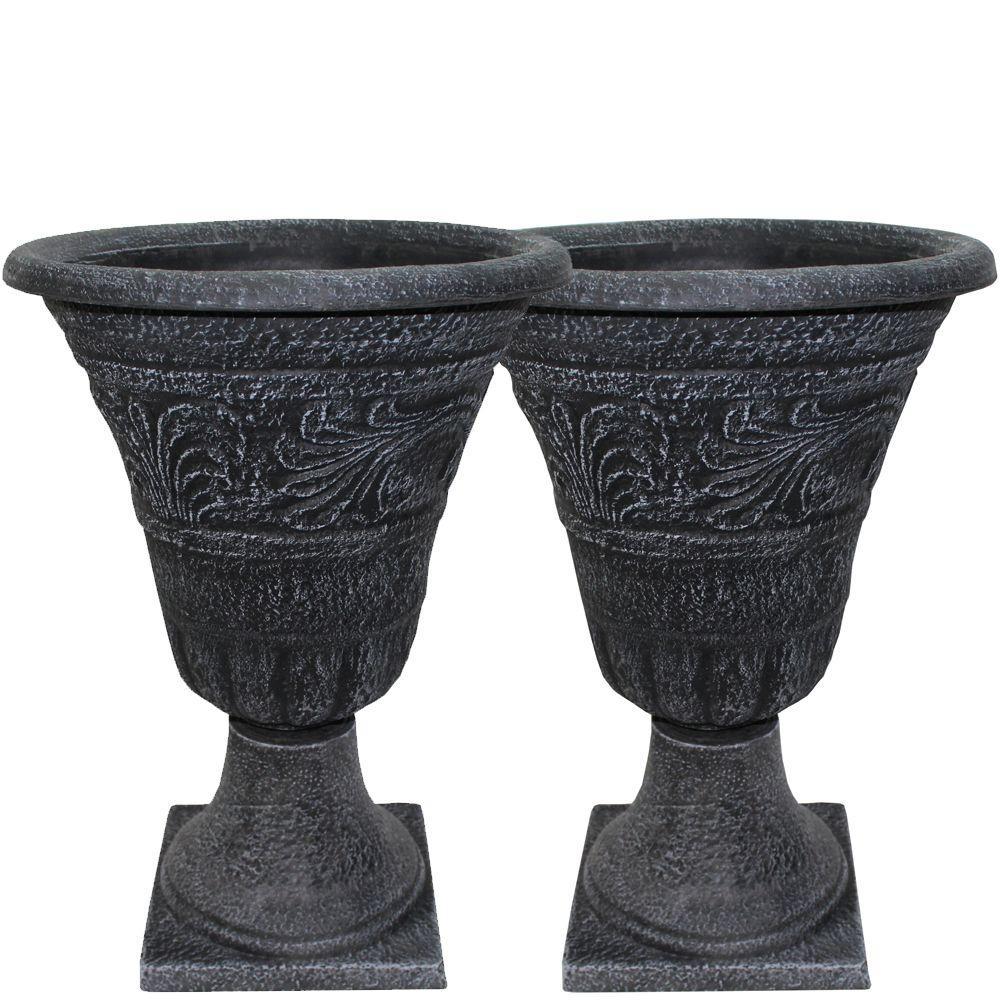Tumbled Scroll 16 in. Weathered Black Urn Pack (2-Pack)