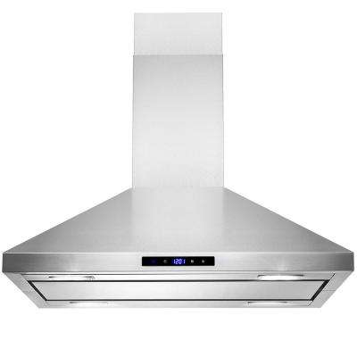 30 in. 350 CFM Convertible Island Mount Kitchen Range Hood in Stainless Steel with Lights