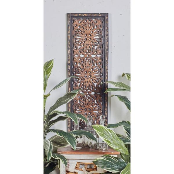 """Litton Lane 36 in. x 12 in. """"Carved Rosette and Scrollwork"""" Framed Wooden Wall Art (Set of 2)"""
