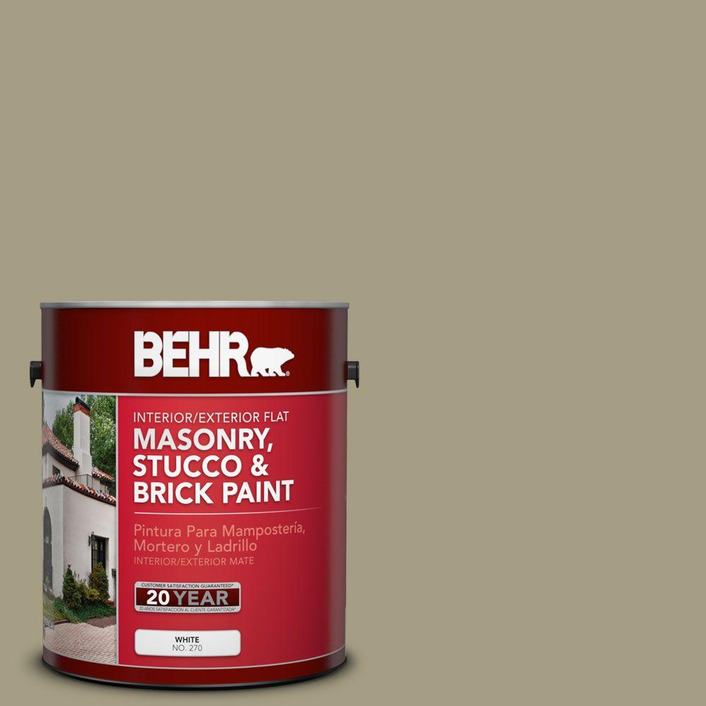 BEHR 1 gal. #MS-51 Sage Moss Flat Masonry, Stucco and Brick Interior/Exterior Paint