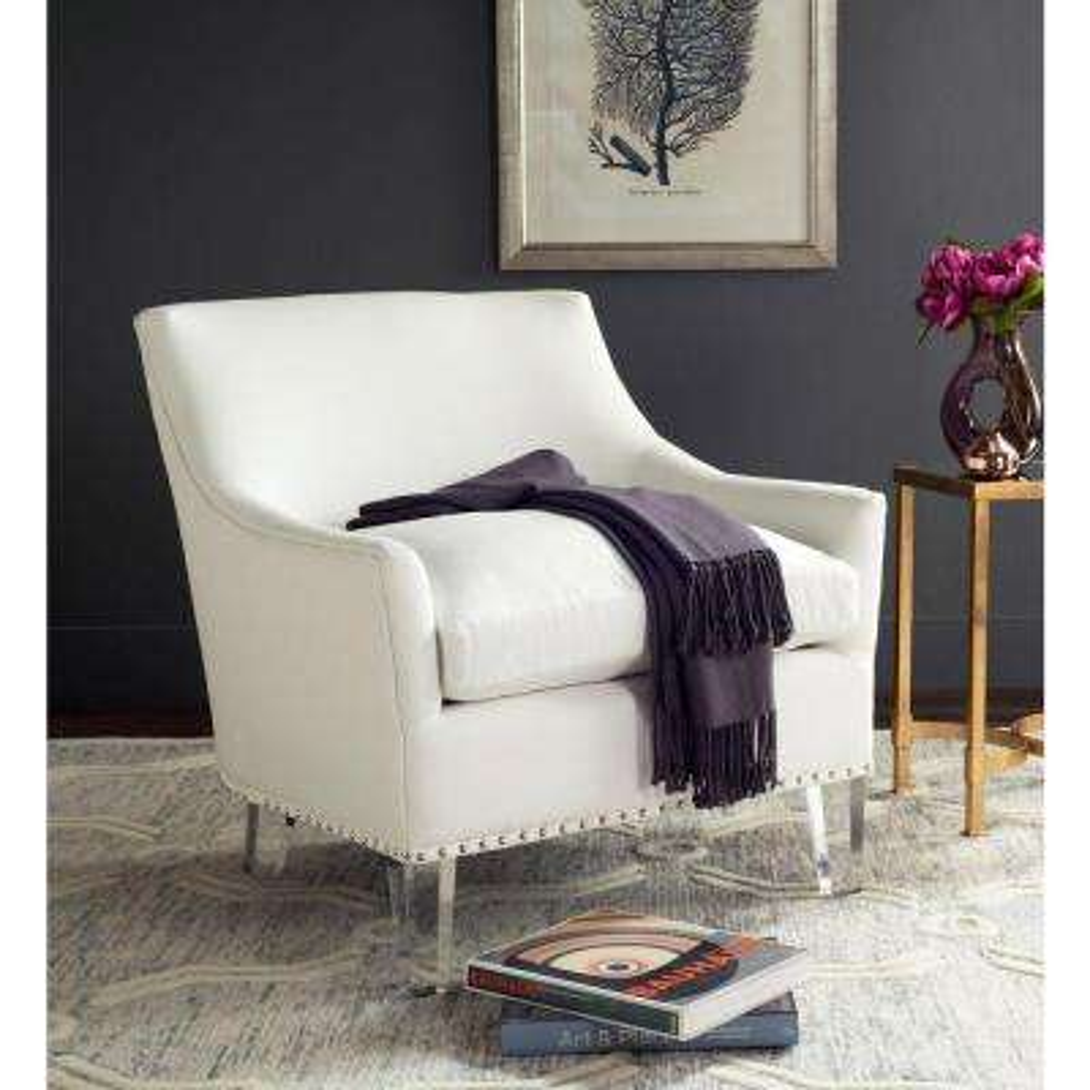 Hollywood Glam White Cotton Club Arm Chair