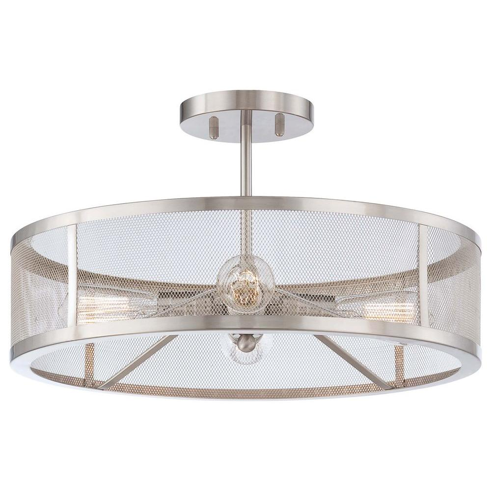 Minka Lavery Downtown Edison 4 Light Brushed Nickel Semi Flush Mount Light