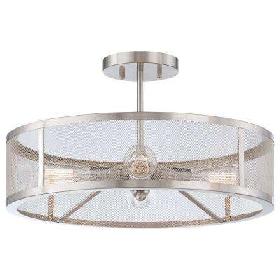 Downtown Edison 4-Light Brushed Nickel Semi-Flush Mount Light