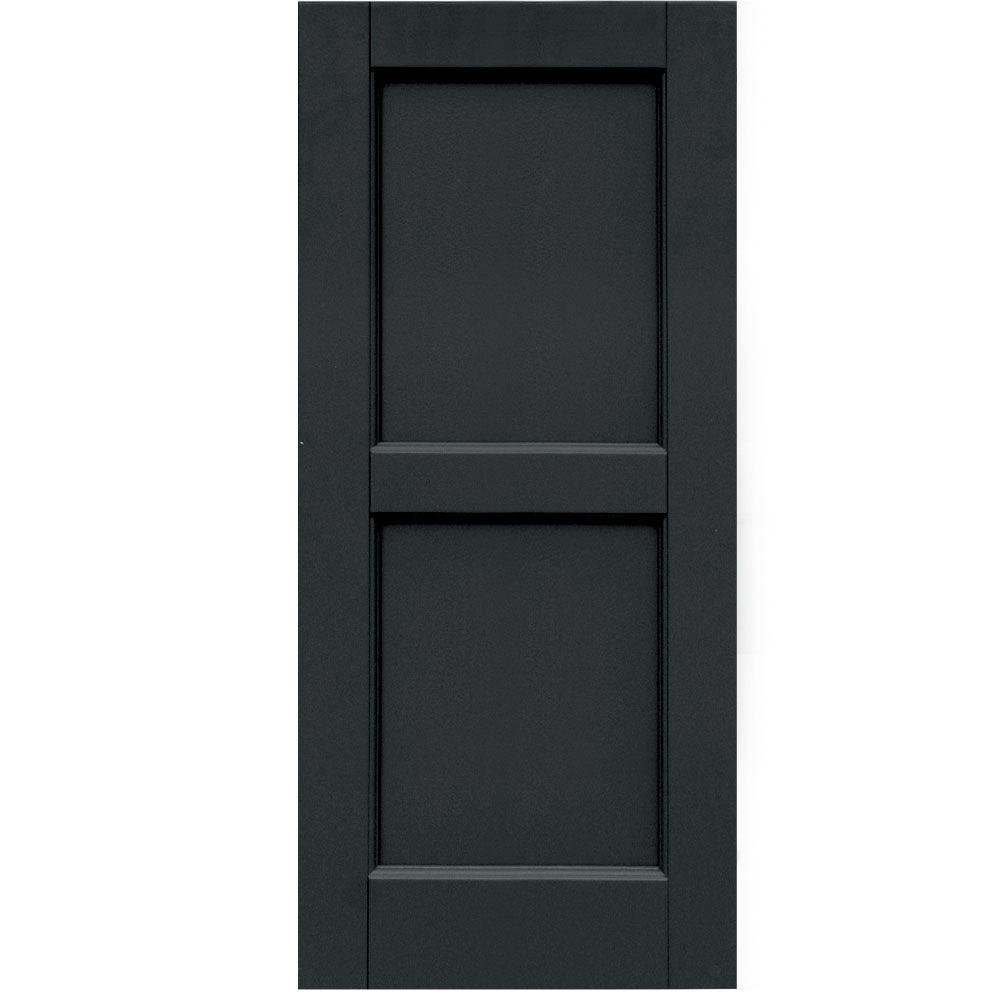 Winworks Wood Composite 15 in. x 34 in. Contemporary Flat Panel Shutters Pair #632 Black